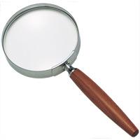 拡大鏡 [手持ちルーペ 虫眼鏡 虫めがね 天眼鏡] 木柄ルーペ 1441 2.5倍 90mm 池田レンズ ルーペ 拡大鏡