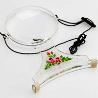 虫眼鏡 手芸用ルーペ [裁縫] 6500-PP 2倍&4倍 100mm 花柄 両手が自由に使える首掛け拡大鏡 トールペイント