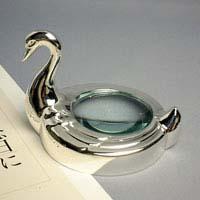 ペーパーウェイト型 ルーペ [スワン] 746 文鎮 ガラス ルーペ 拡大鏡 虫眼鏡