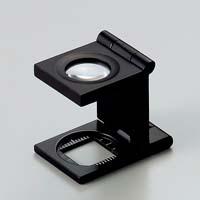虫眼鏡 リネンテスター 7520 9倍 15mm ブラック ミリ&インチの白メモリ 測量 検査用 ルーペ
