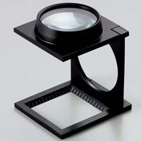 虫眼鏡 リネンテスター 7660 5倍 43mm ダブルレンズ ブラック ミリ&インチメモリ 測量,検査用ルーペ 池田レンズ