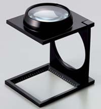 虫眼鏡 リネンテスター 7670 4倍 48mm ダブルレンズ ブラック ミリ&インチメモリ 測量,検査用ルーペ 池田レンズ