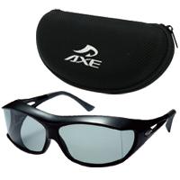 AXE [アックス] 偏光 オーバーグラス ポラライズド オーバーサングラス [SG-605P-BK] ケース [AX-26] セット SG-605 偏光サングラス オーバー 偏光グラス メガネの上からサングラス 釣り ドライブ 運転
