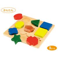 パズル 形あわせパズルC 9ピース 木製玩具 知育玩具 おもちゃパズル ゲーム 子供 3歳 4歳 5歳