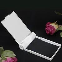 鏡 ライト付 ミラー 手鏡 ハンドミラー ホワイト コンパクト 手持ち鏡
