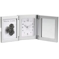 アラーム付メモリアルクロック[フォト&ミラー]シルバー アーテック 写真立て アラーム 時計 フォトフレーム プレゼント