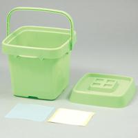 おかたづけボックスミニ薄緑 お片づけ ボックス おもちゃ箱 収納 バケツ ラック ゴミ箱 ダストボックス 玩具入れ 蓋付き