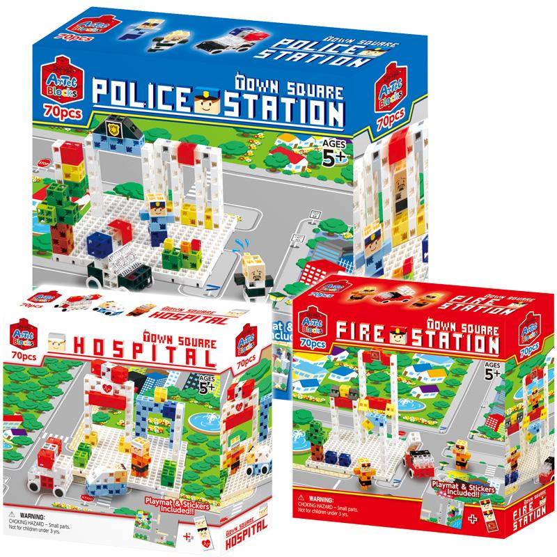 タウンスクエア ポリスステーション/ファイアーステーション/ホスピタル アーテック 日本製 パズル ゲーム おもちゃ 知育玩具 レゴ レゴブロックのように自由に遊べます