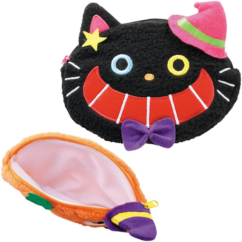 ハロウィン ふわふわハロウィンポーチ かぼちゃ・黒猫 かわいい HF-140 景品 プレゼント グッズ ポーチ キッズ 子供