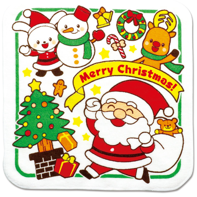 クリスマス タオルハンカチ[サンタとゆかいななかまたち アーテック キッズ 子供 幼児 季節用品 景品 イベント