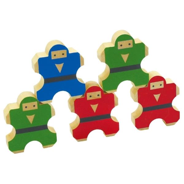のりのり忍者 小5個組 幼児 子供 キッズ おもちゃ 知育玩具 つみき ゲーム 木製