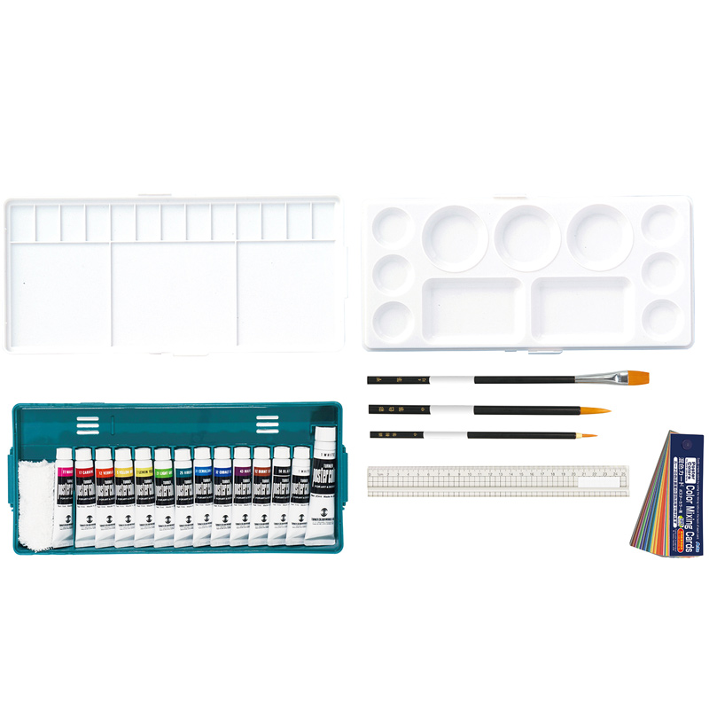 T PCプライム シンプルセットB 13色 14本セット 絵具 美術 画材 図工 スケッチ 学校 教材 小学生 中学生