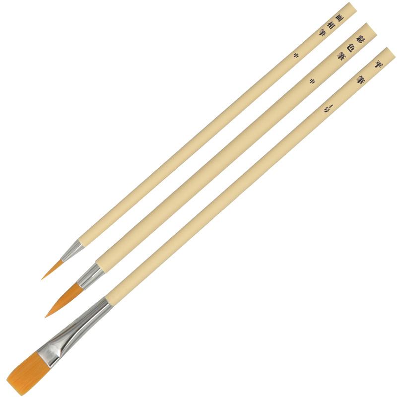 ナイロン プラ軸 デザイン筆 3本組 絵の具 絵筆 絵具 筆 美術 画材 図工 スケッチ 学校 教材