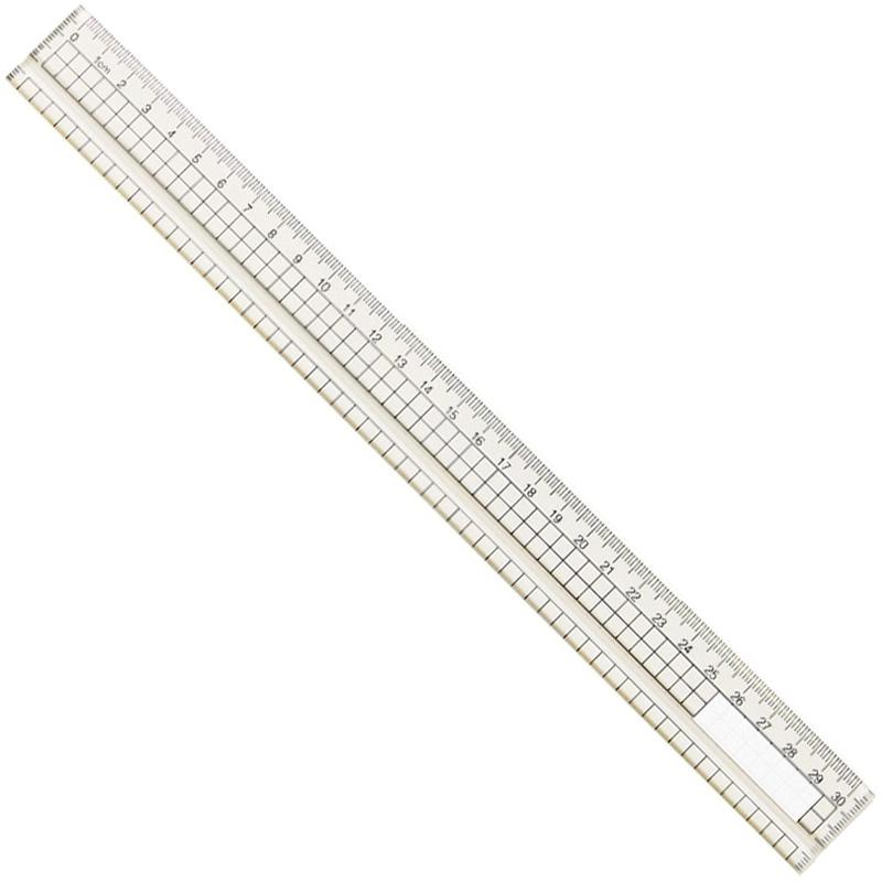 アクリル方眼定規 30cm 溝付 定規 文房具 算数 学校 教材 備品 画材 ものさし 計る