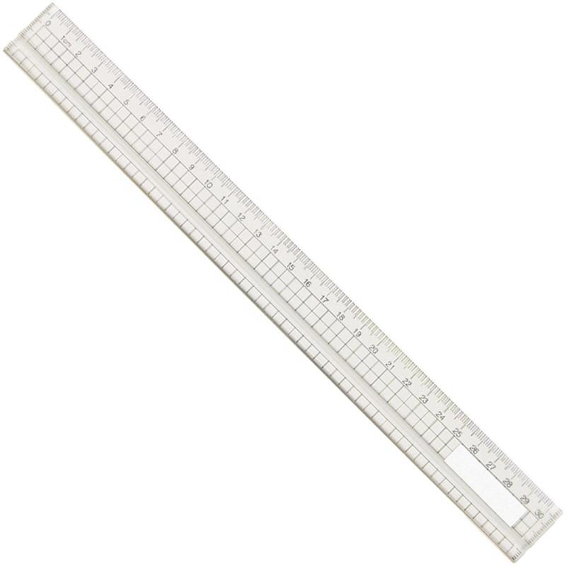 アクリル方眼定規 30cm 溝付・エッジ付 定規 文房具 算数 学校 教材 備品 画材 ものさし 計る