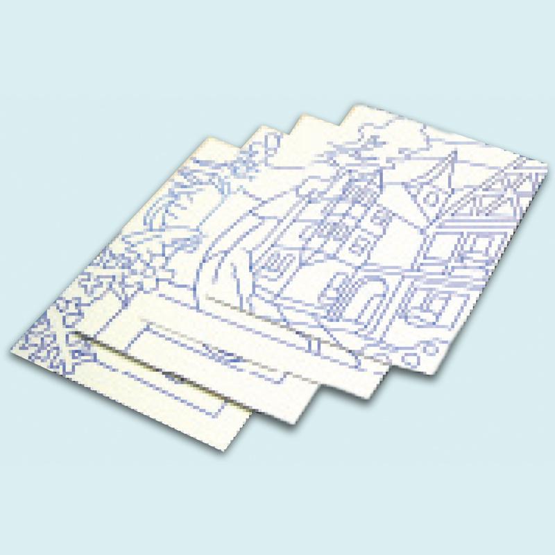 切り抜き済 のり付台紙 4枚組 図工 工作 美術 画材 学校 教材 夏休み 宿題
