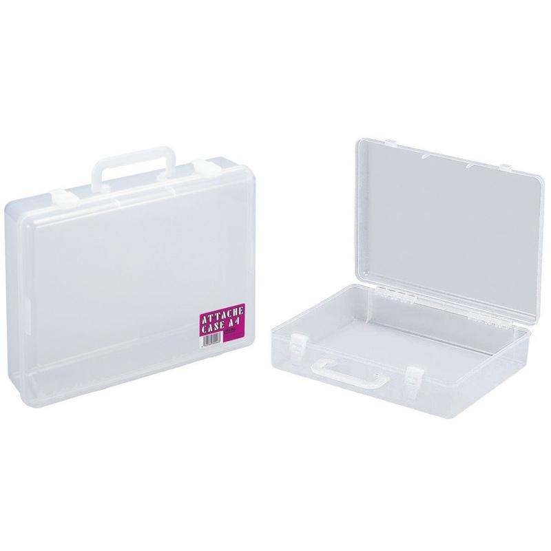 A4 アタッシュケース 透明 美術 図工 画材 ケース 学校 教材 バッグ 雑貨 文具