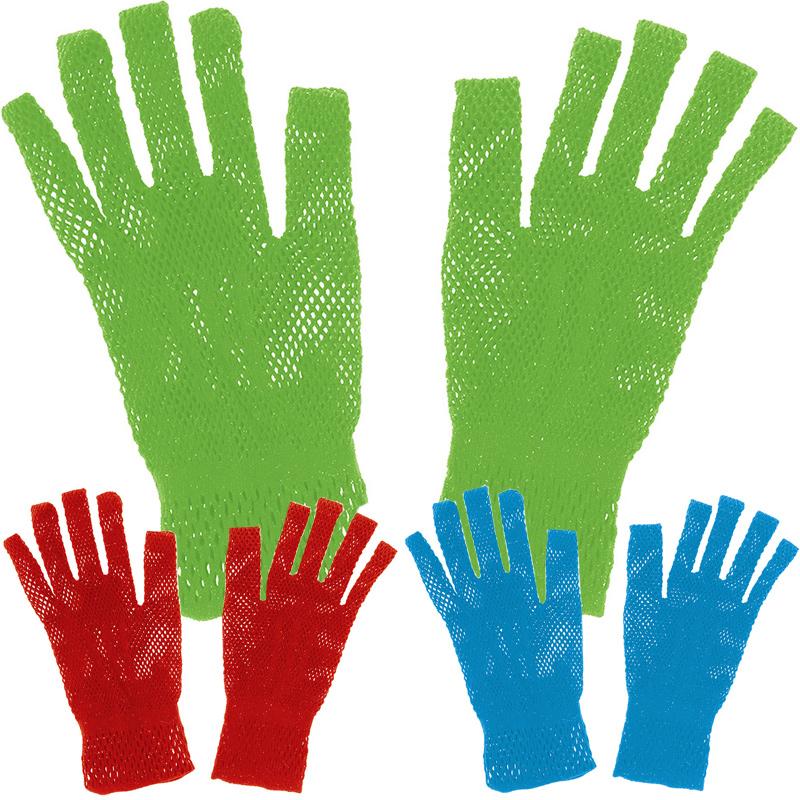 手袋 あみあみ 赤 青 黄緑 メッシュ手袋 ダンス 踊り 学芸会 衣装 子供 キッズ 運動会 体育祭