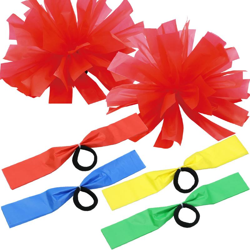 ポンポン チア 2個組 ハンドフリー チアポンポン テープ パステル チアガール チアリーディング 運動会 学芸会 衣装 発表会 ダンス 子供 キッズ