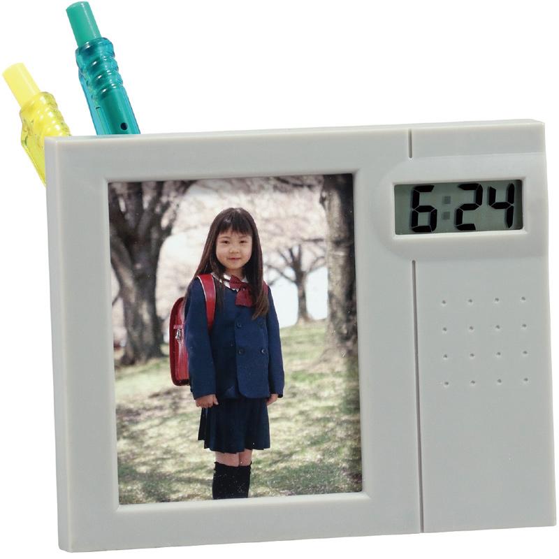 フォトクロック 写真立て フォトフレーム ペン立て 時計