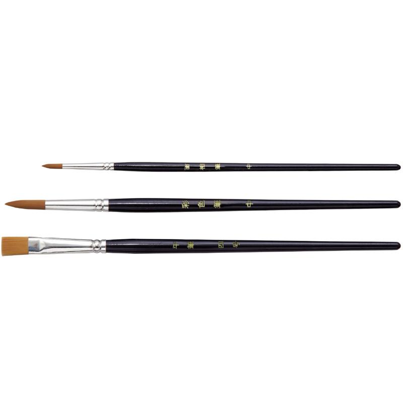 高級木軸 デザイン筆 3本組 絵筆 筆 絵具 美術 画材 絵 図工 工作 中学生 文具 ホビー