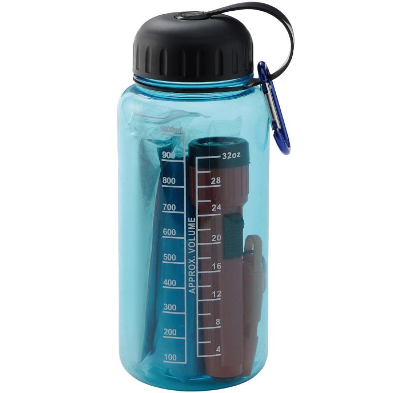 防災セット 一人用 懐中電灯 ライト 笛 レインポンチョ 水筒 1L アルミブランケット エマージェンシーボトルセット 防災グッズ