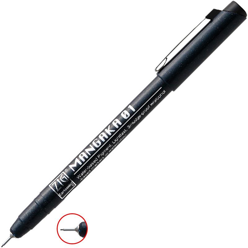 マンガ用 線描きペン 黒 ZIG ペン 文具 画材 美術 デザイン イラスト 工作 図工