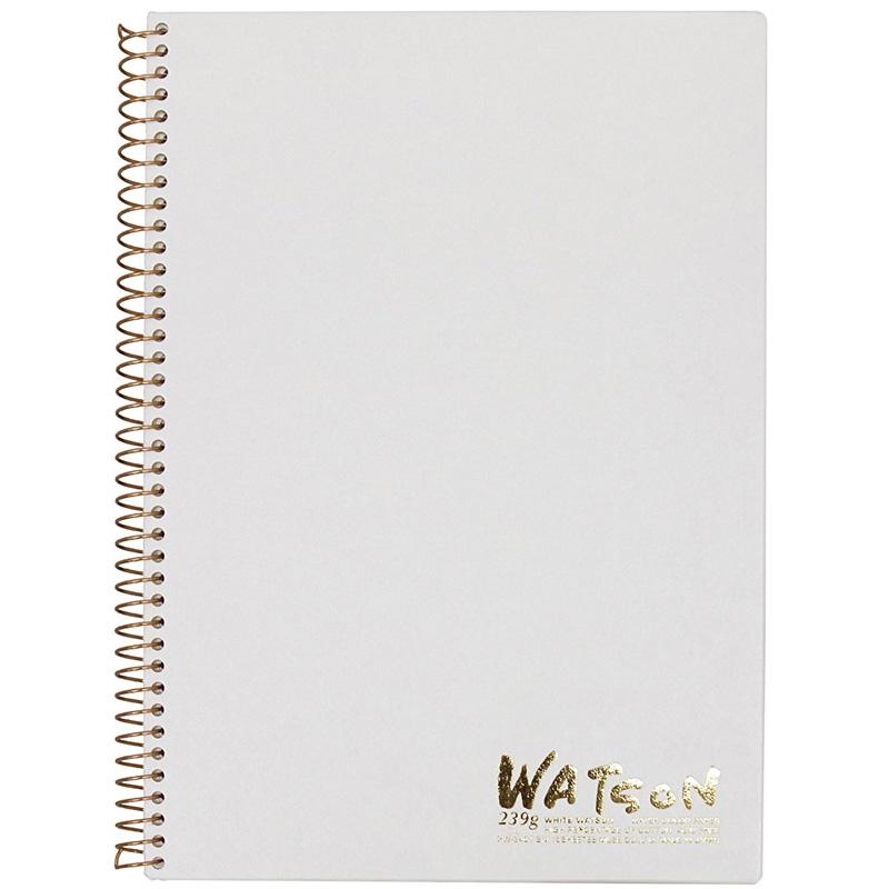 ミューズ 高級水彩紙 ホワイトワトソンブック 中性紙 HW-2401 SM スケッチ ブック 画材 美術 写生 ノート デザイン イラスト 工作 図工