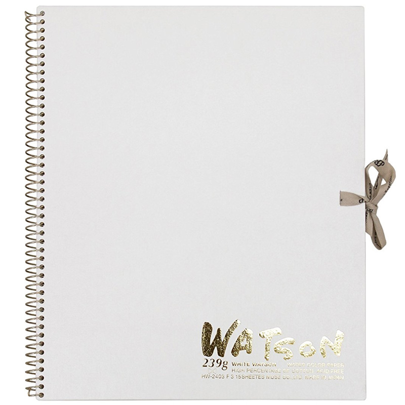 ミューズ 高級水彩紙 ホワイトワトソンブック 中性紙 HW-2403 F3 スケッチ ブック 画材 美術 写生 ノート デザイン イラスト 工作 図工