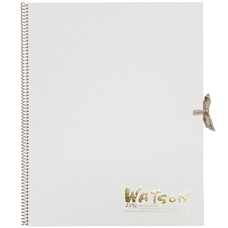 ミューズ 高級水彩紙 ホワイトワトソンブック 中性紙 HW-2406 F6 スケッチ ブック 画材 美術 写生 ノート デザイン イラスト 工作 図工
