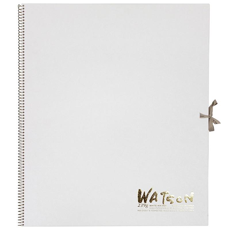 ミューズ 高級水彩紙 ホワイトワトソンブック 中性紙 HW-2408 F8 スケッチ ブック 画材 美術 写生 ノート デザイン イラスト 工作 図工