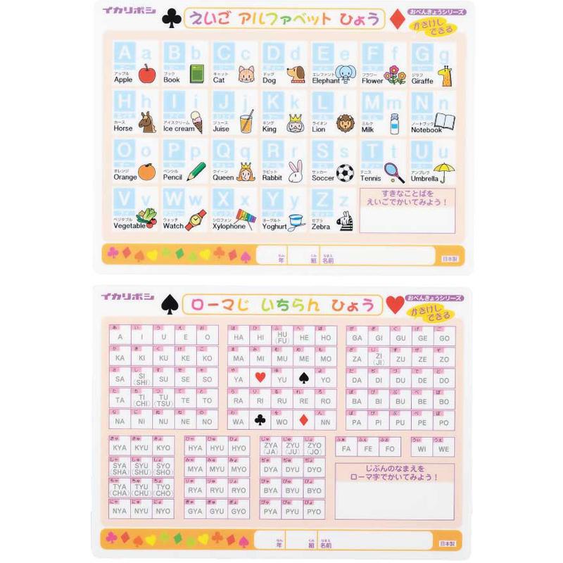 かき消し 下敷き アルファベット表 アルファベット・ローマ字 書いて消せる 勉強 学習 知育玩具 文房具