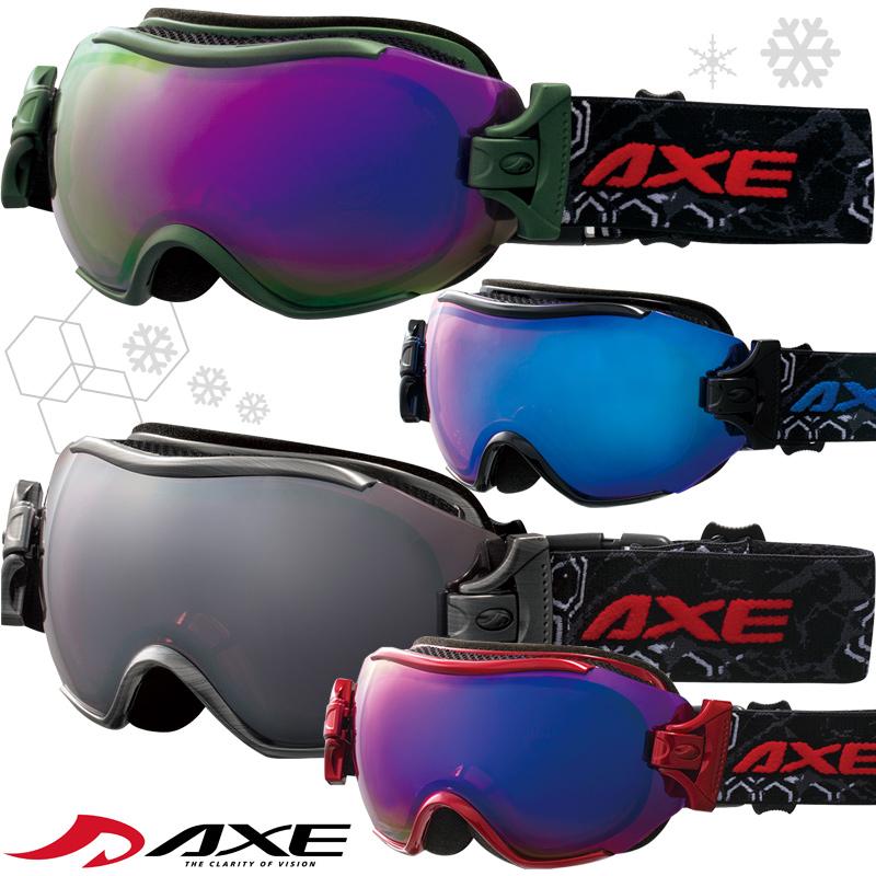 ゴーグル スキー スノーボード AX750-WCM [16-17カタログモデル] ダブルレンズ 曇り止め機能付メンズスノーゴーグル AXE アックス ヘルメット対応