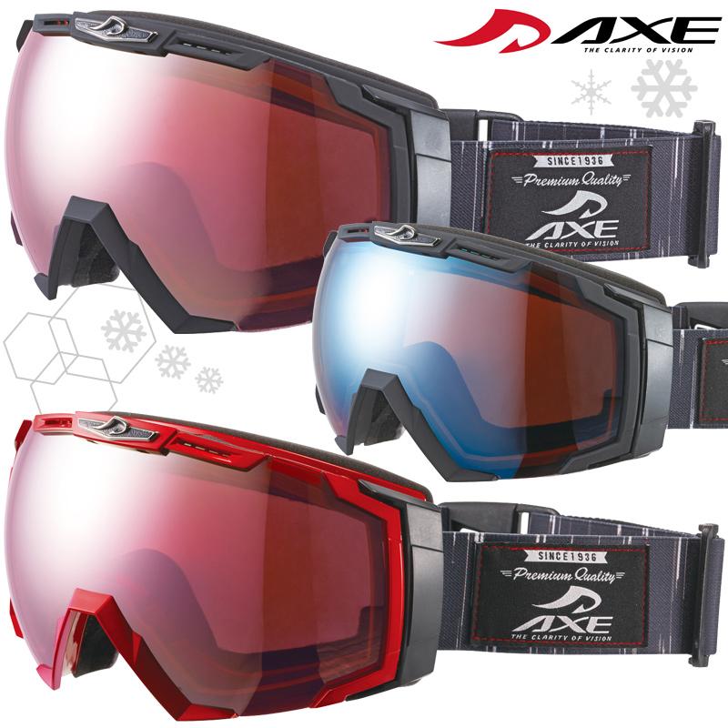 ゴーグル 眼鏡対応 スノーボード スキー ダブルレンズ ミラー 曇り止め [17-18カタログモデル] メンズ ヘルメット対応 スノーゴーグル AX-770-WCM AXE アックス