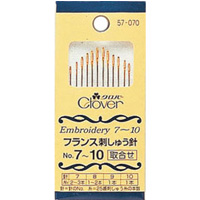 フランス刺しゅう針No.7〜10 57070 クロバー 刺繍 針 縫い針 ししゅう 手芸 裁縫 ソーイング用品 洋裁 ハンドクラフト