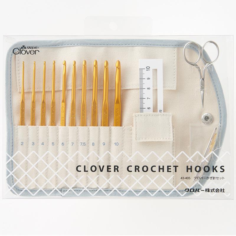 かぎ針セット 43405 Clover クロバー コットン製 ケース付き とじ針 ミニはさみ ニットゲージ 手芸 裁縫