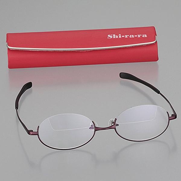 Shi-ra-ra 上下 遠近メガネ ワイン G08907 カートン 遠近両用 老眼鏡 シニアグラス 男性 女性 おしゃれ 遠近両用メガネ