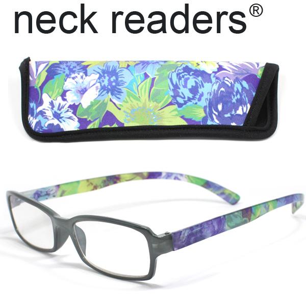 老眼鏡 シニアグラス リーディンググラス 女性 おしゃれ レディース 携帯用 ブルーライトカット 折りたたみ 2.0 1.5 1.0 おすすめ PCメガネ パソコンメガネ ネックリーダーズ 花柄ブルー 可愛い