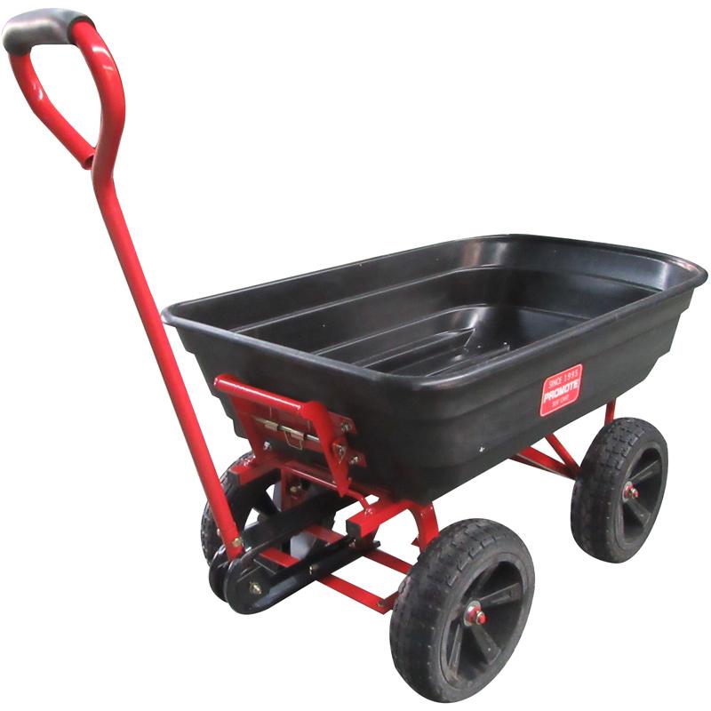 ダンプ機能付き カート 台車 4輪 キャリーワゴン 肥料 土 作物 運搬 収穫 ハンドル付き キャリーカート ガーデンカート リヤカー