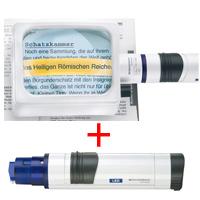 虫眼鏡 置き型 ライトルーペ [system vario plus] ヘッド+LEDライト付グリップのセット 2.8倍 75×100mm 158264
