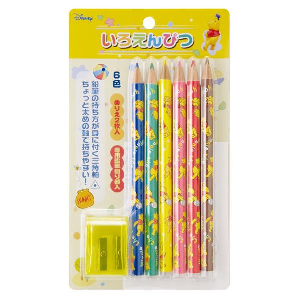 三角えんぴつ 三角鉛筆 色鉛筆 6色 くまのプーさん 色えんぴつ 文房具 Disney ディズニー 鉛筆削り付き 文具 小学生 幼児 幼稚園