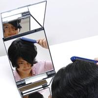 卓上 三面鏡 立体 卓上ミラー スタンドミラー [鏡] キュービックミラー ヘアカラー [毛染め] メイクミラー 折りたたみ