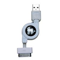 HORIC USBデータ転送巻取式ケーブル iPhone/iPad用 ケーブル長1.0m ホワイト ホーリック