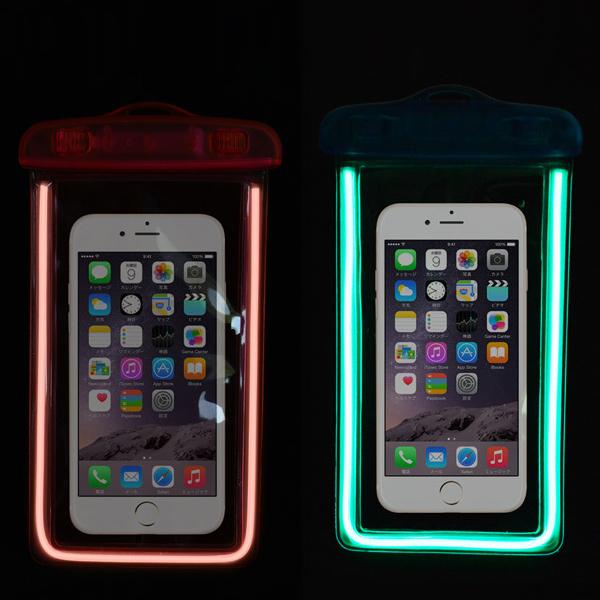 スマホ用防水バッグ キラポチ KP-152 暗くなるとぼ〜っと光る 光る 防水ケース お風呂 海 スノボ プール iPhone6 Plusも対応