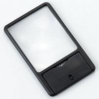 虫眼鏡 LEDライト付き 拡大鏡 ルーペ カード 2.8倍 携帯用カードルーペ 池田レンズ