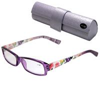 【定形外郵便送料無料】 老眼鏡 花柄 607PU パープル リーディンググラス シニアグラス 女性 おしゃれ