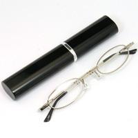 シニアグラス [老眼鏡 折りたたみ] SG-02BK ブラック 黒 [リーディンググラス] 携帯用ペン型ケース付き 男性 女性 おしゃれ