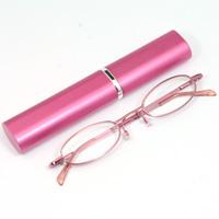 シニアグラス [老眼鏡 折りたたみ] SG-02PK ピンク [リーディンググラス] 携帯用ペン型ケース付き