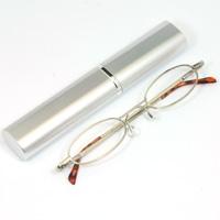 老眼鏡 シニアグラス ペン型ケース入 シルバー