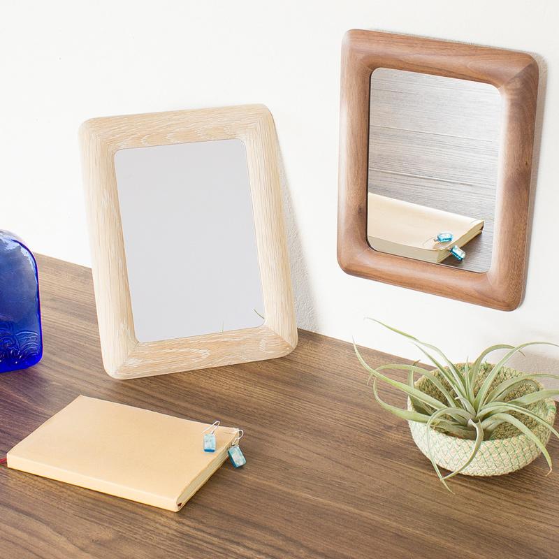コカダ ウッドスタンド ウォール ミラー おしゃれ 壁掛け 木枠 鏡 卓上 かわいい Paladec 人気 木製